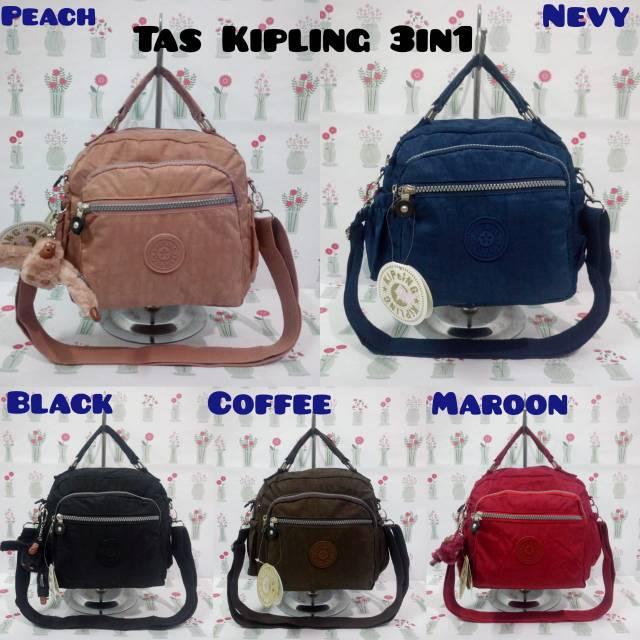 New Kp501-1 Tas Kipling Motif 3Fungsi Tas Jinjing Selempang Ransel - Ungu  6b6273b5bf