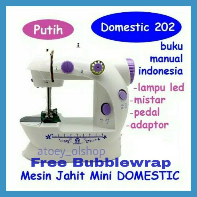 NEW MESIN JAHIT MINI PORTABLE GT-202 LED / FHSM 202 LED / S2 DENGANLAMPU, | Shopee Indonesia