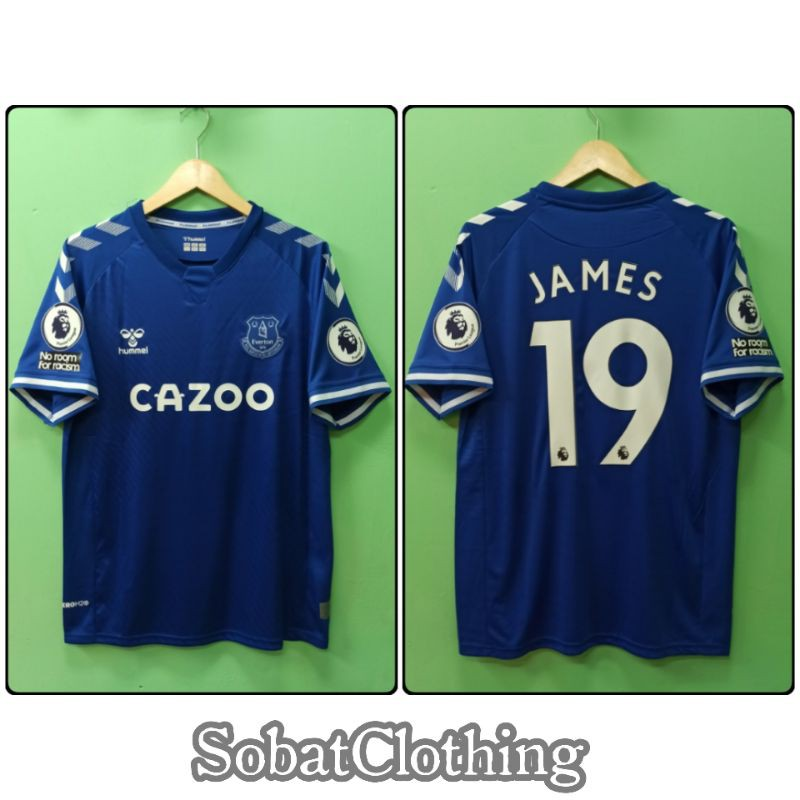 Full Accesories Full Patch Epl Everton Home 2020 2021 Custom Player Nameset Print Official Font Shopee Indonesia