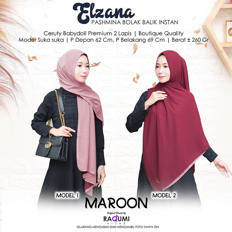 Elzana Pashmina Bolak Balik Instan By Raqumi Hijab Shopee Indonesia