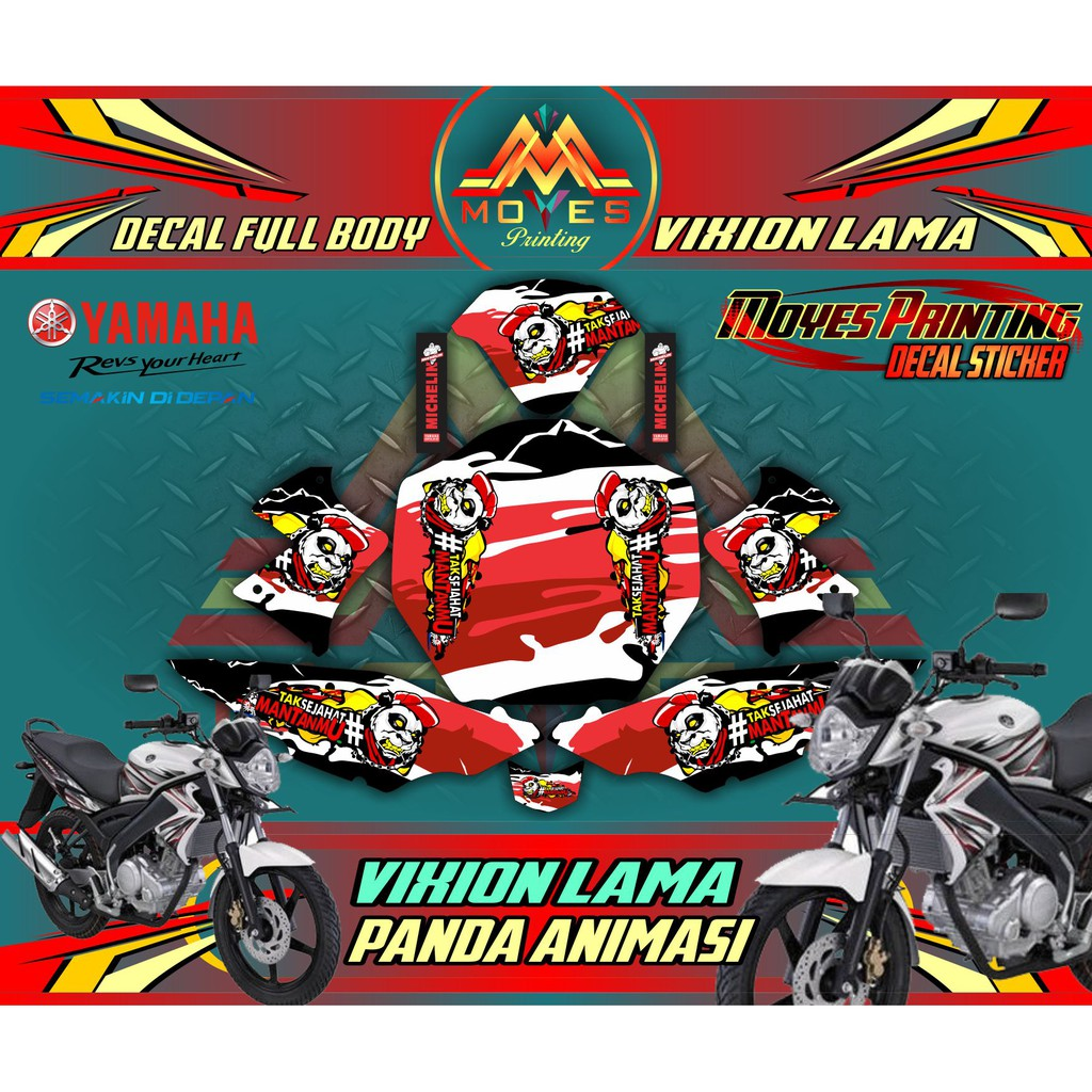 Sticker Variasi Yamaha Vixion Lama Decal Sticker Full Body Motor Vixion Old Gambar Panda Animasi Shopee Indonesia