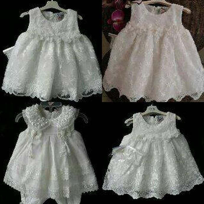 gaun anak putih gaun bayi baptis aqiqah /Fashion Anak Perempuan   Shopee Indonesia