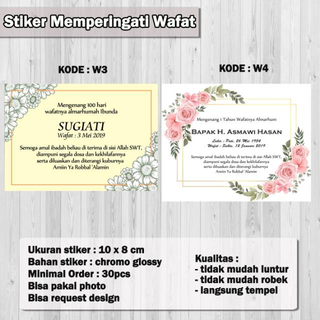 Stiker Label Peringatan Wafat 40 Hari Shopee Indonesia