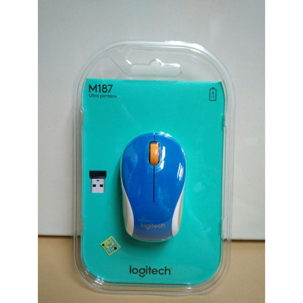 Logitech Mouse Wireless Original M187 Biru Pad Bantal4 M170 Ori Keyboard
