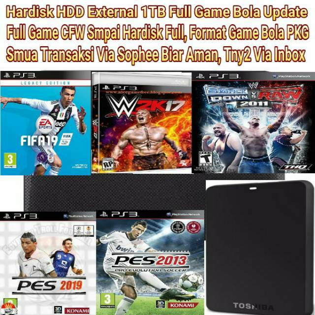 Hardisk HDD External 1Tera 1TB Free Game PS3 CFW OFW PKG HAN HEN PES 2013  PES 2019 FIFA19 New Update