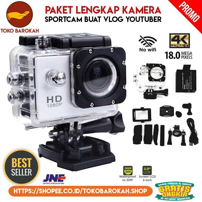 Paket Lengkap Kamera Vlog Sport Actioncam Kogan 4k Full Hd 1080p Kamera Outdoor Waterproof 30m