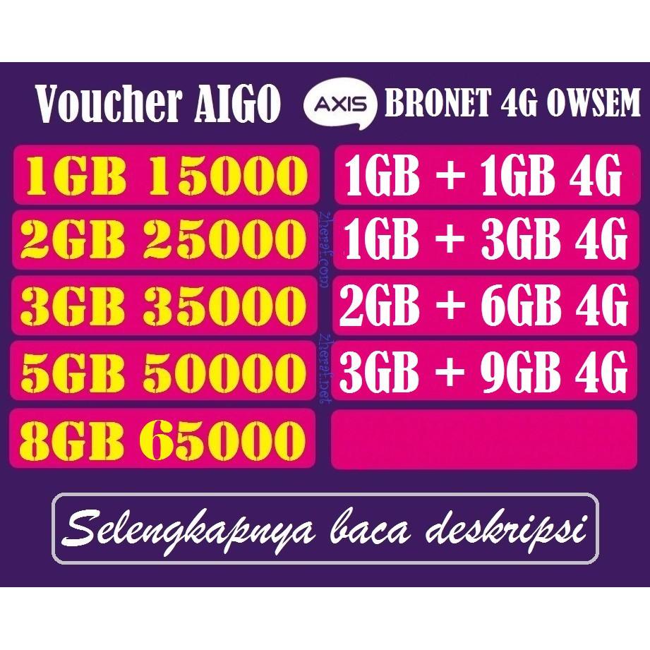 Voucher Aigo Axis Kuota Data Bronet 4g Owsem Shopee Indonesia Voucer 2 Gb