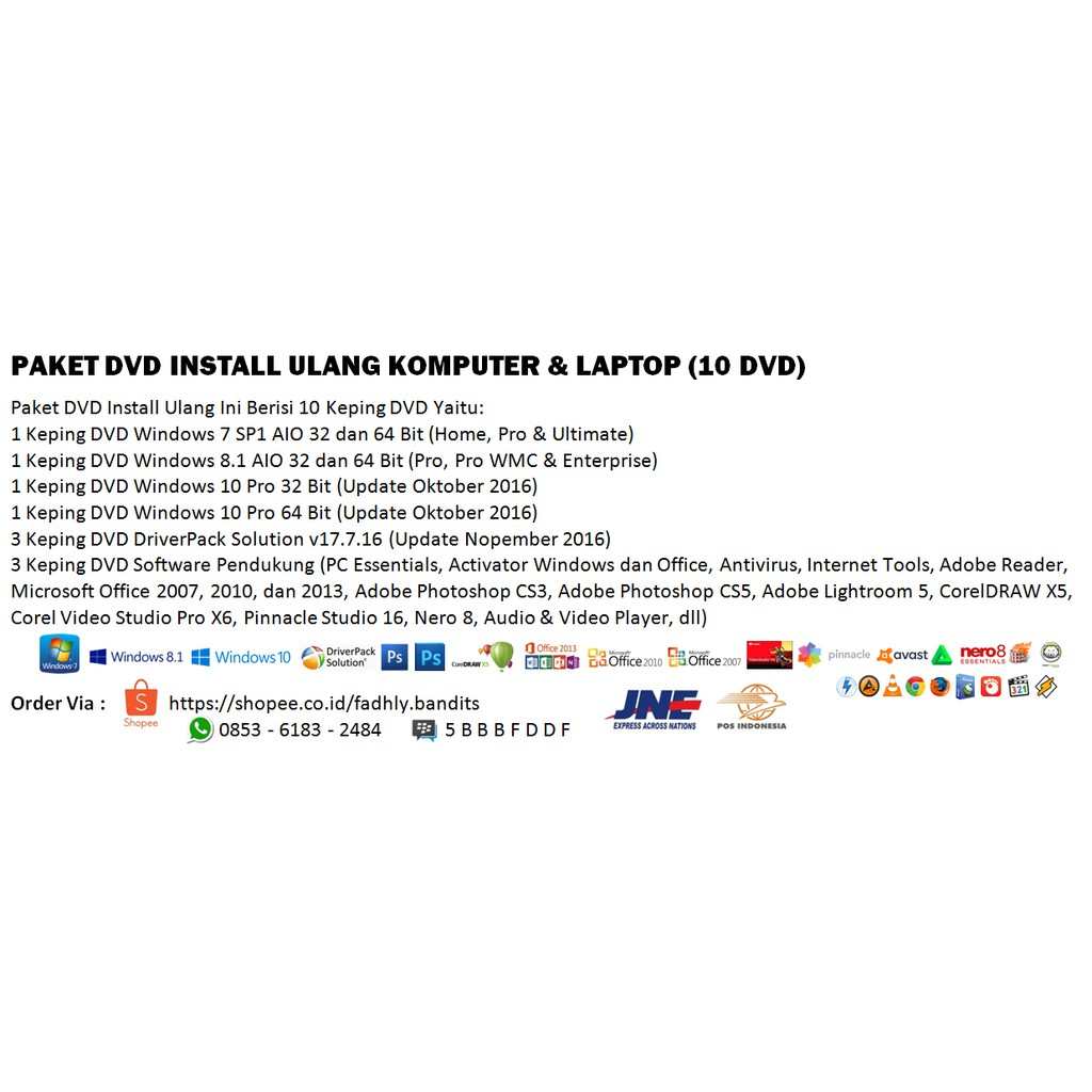 9 Dvd Install Ulang Laris Manis Paket Shopee Indonesia Instal Komputer Laptop