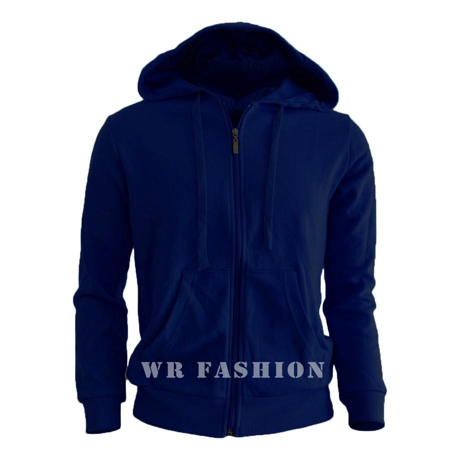 Je Fashion Pria Jaket Sweater Polos Hoodie Zipper Biru Dongker Jumper Turkis Xxl Navy L3648 Shopee Indonesia