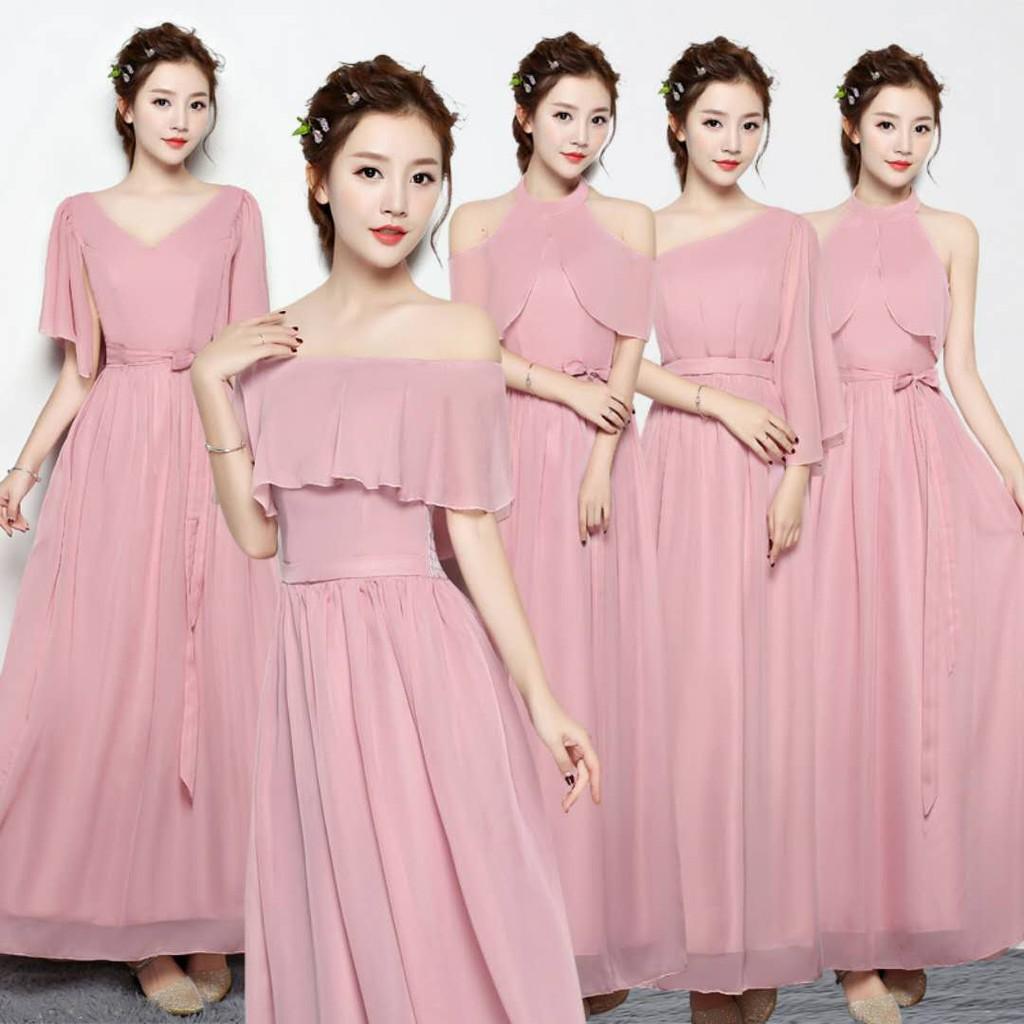 Dress Sifon Warna Pink untuk Pengiring Pengantin