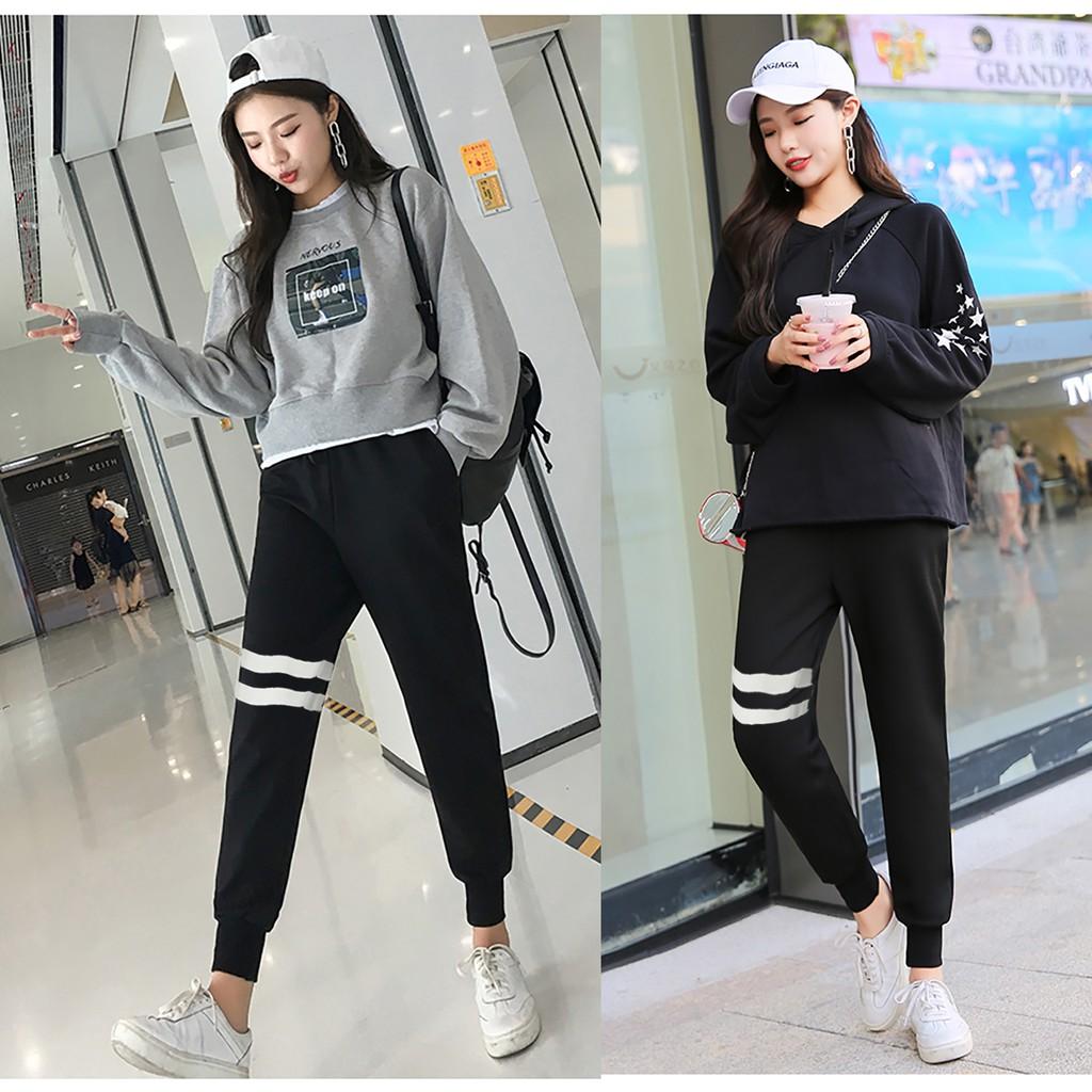 Jfashion Celana Jogger training Wanita dewasa Seleting List Putih - Kevilia | Shopee Indonesia