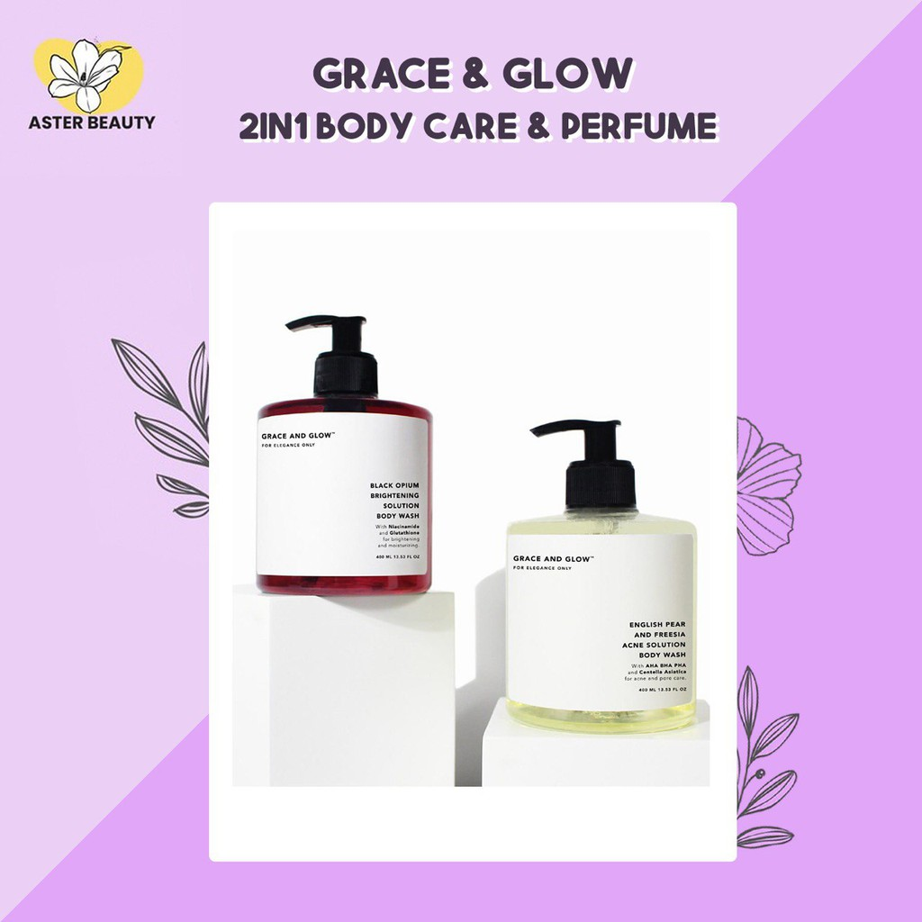 Grace & Glow Black Opium Brightening Booster Pear and Freesia Anti Acne Solution Body Wash
