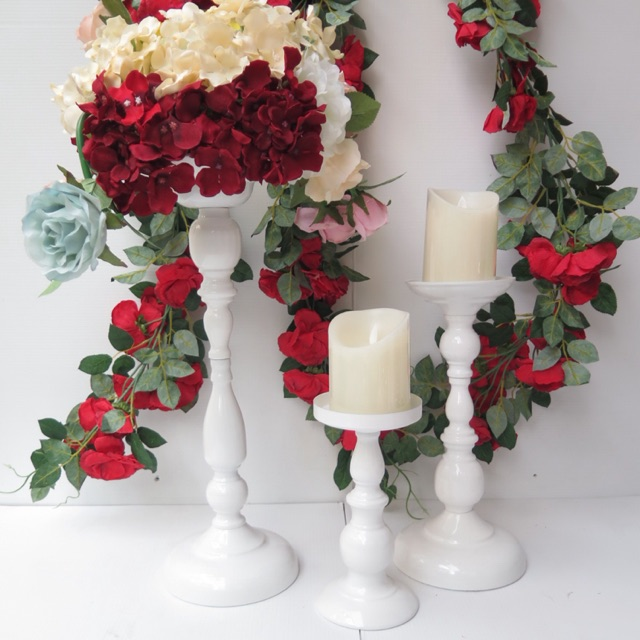 Classic White Flower Candle Holder Vas Bunga Standing Shopee Indonesia