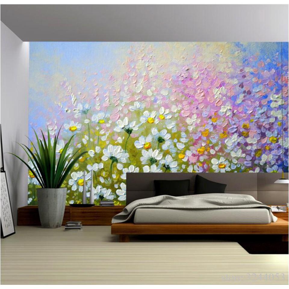 Minyak Bunga Kustom Bunga Wallpaper Hiasan Dinding Kamar Tidur 3D Foto Wallpaper Mural