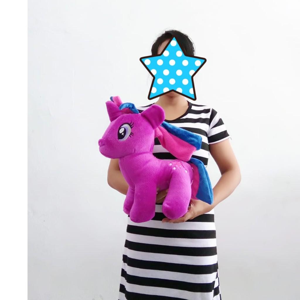 Boneka Kuda Poni Warna Ungu Boneka Unicorn Ungu 35cm Shopee Indonesia
