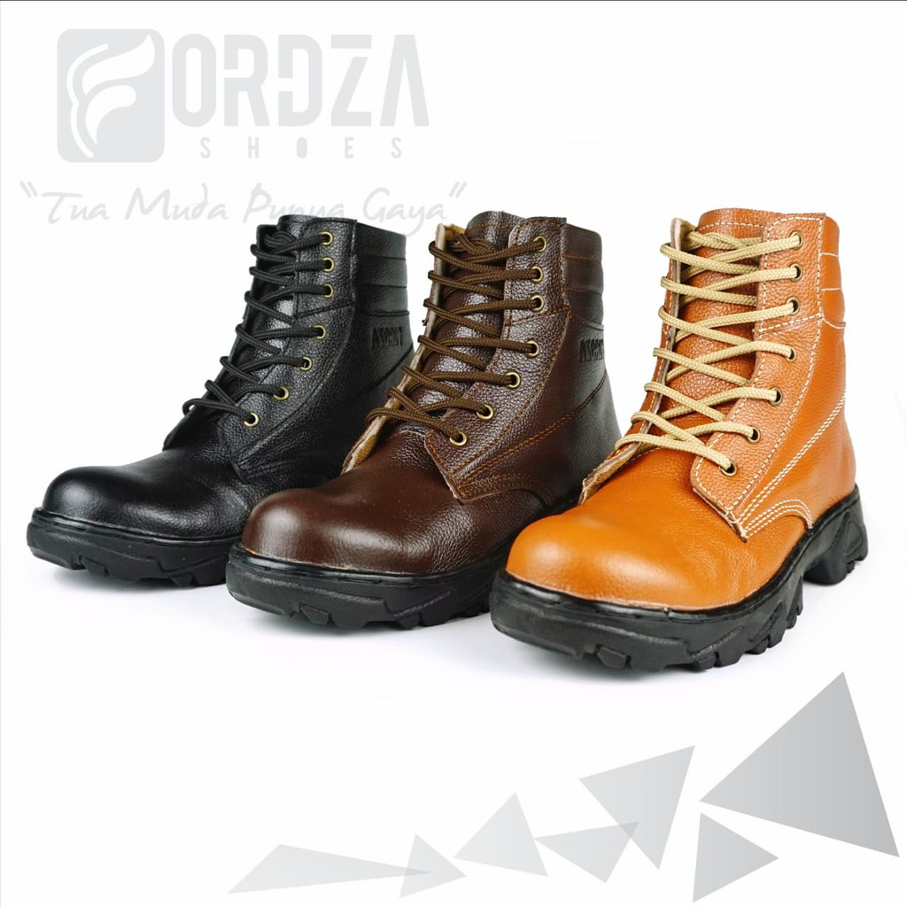 Sepatu Boot pria Boots Touring Traveling Bahan Kulit Asli Model Zipper Handmade Fordza BKS09   Shopee Indonesia