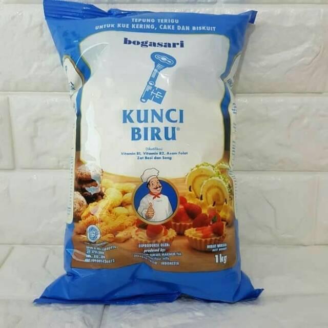 Tepung Terigu Kunci Biru Premium 1 Kg Bogasari