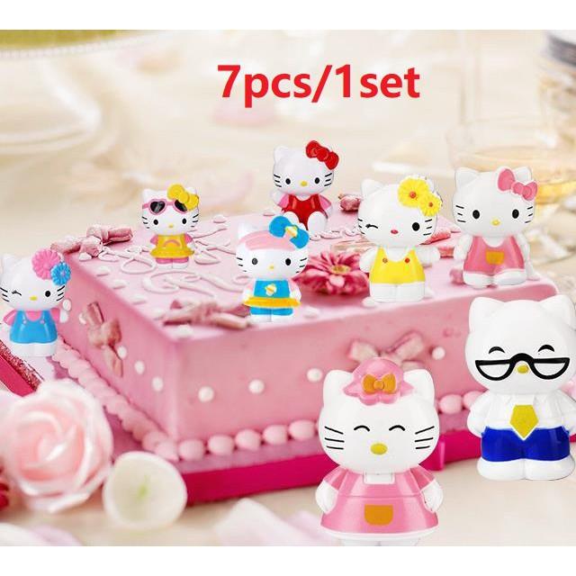 Boneka Kartun Hello Kitty Untuk Dekorasi Kue Ulang Tahun