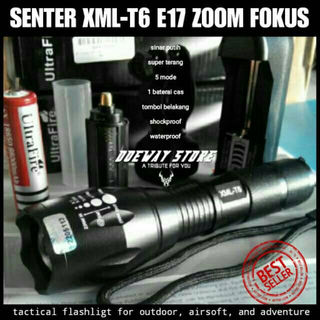 Senter LED Super Terang Taffware 5000 Lumens Cree XM-L T6 26650 bisa batere  biasa AAA  5d4656f943