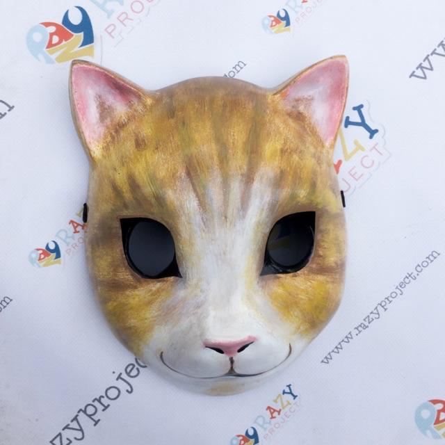 Neko Cat Kucing Mask Topeng Kayu Cosplay Anime Jepang Yellow Kuning Black Hitam Shopee Indonesia