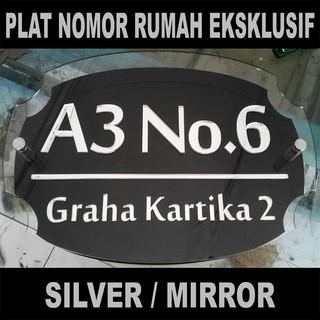 eksklusif plat nomor rumah acrylic silver 3 lapis custom