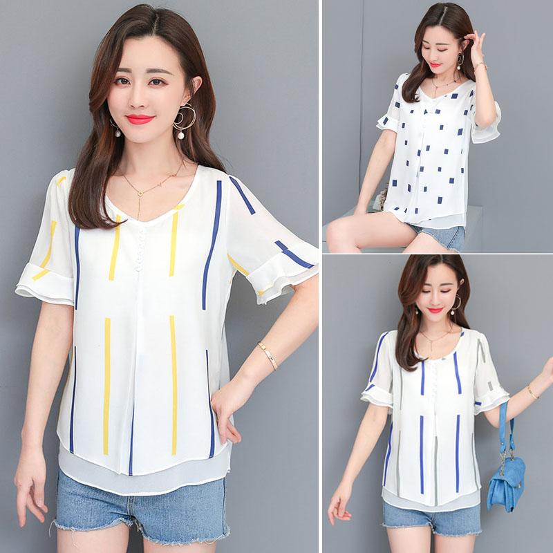 Striped Tops Summer Fashion Women Blouse Chiffon Short Sleeved Shirt Elegant Women Top Print Korea Shirts Shopee Indonesia