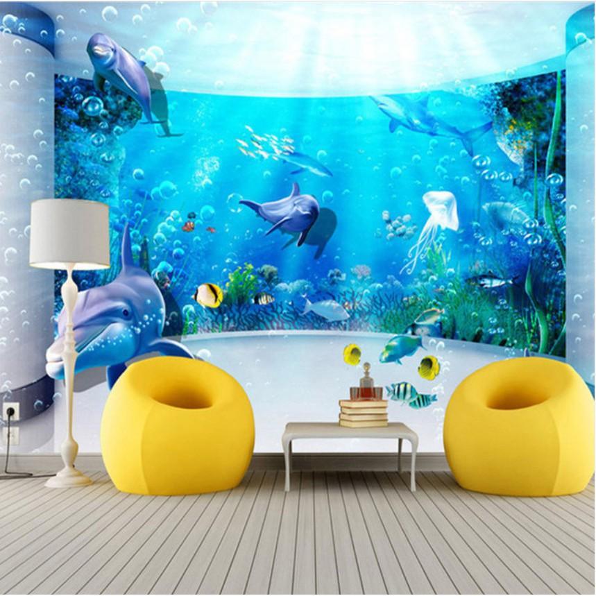 Bayar Di Tempat3d Aquarium Dolphin Ocean Underwater World Living Room Wallpaper Mural