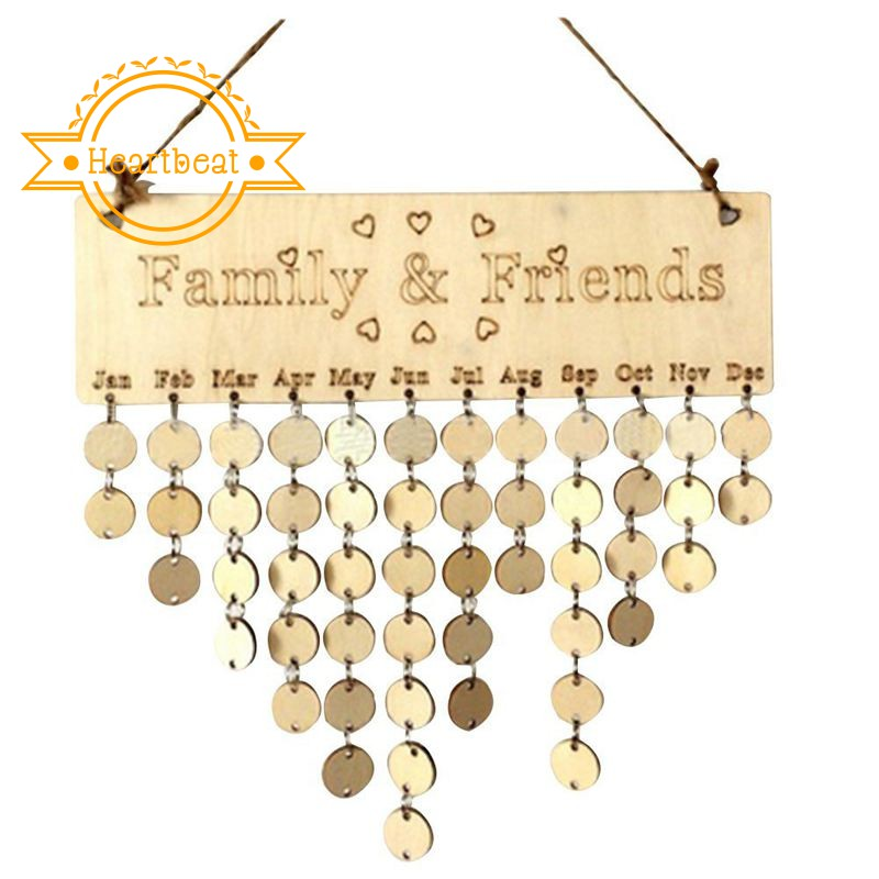 Family Birthday Calendar Wood Wall Hanging Board Plaque DIY