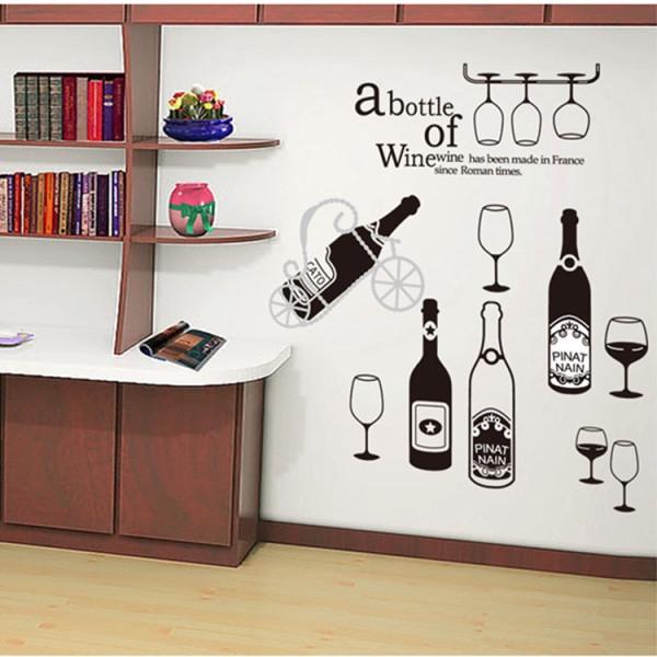 Stiker Dinding Sebotol Anggur Piala Anggur Merah Dekorasi Kamar Wallpaper Dinding