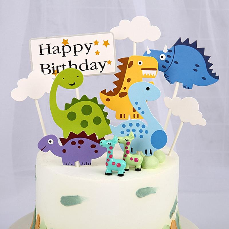9pcs Topper Kue Desain Kartun Dinosaurus Untuk Pesta Ulang Tahun
