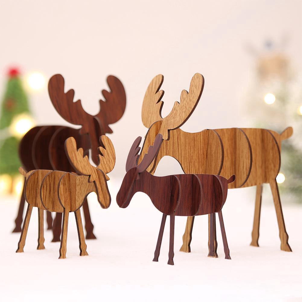 Pretty Pendant Wood Christmas Elk Deer Ornaments Xmas Tree Hanging Decoration