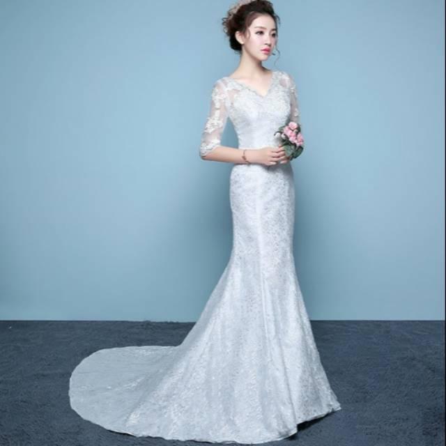 Gaun Pengantin 1710003 Putih Mermaid Ekor Wedding Gown Lengkap Slayer Veil Putih Sl 033