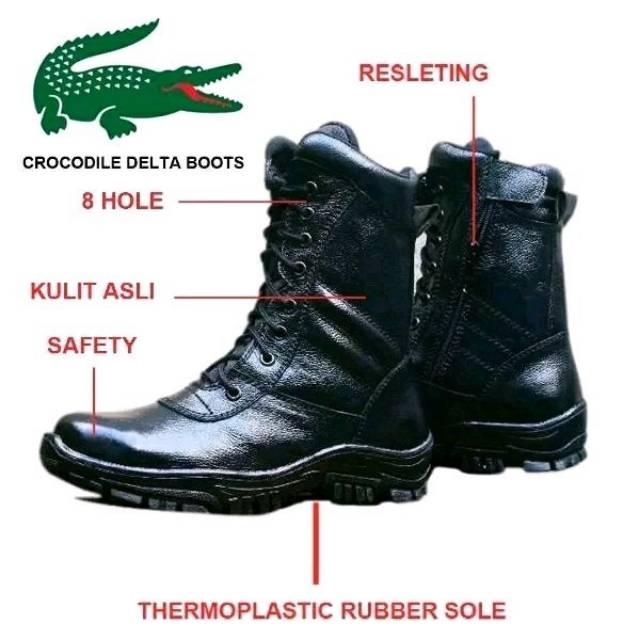 Sepatu PDL Kulit Asli Crocodile Boots Safety Satpam AL AU AD Militer  Security Hansip Brimob Polri  2fdf8c7ff3