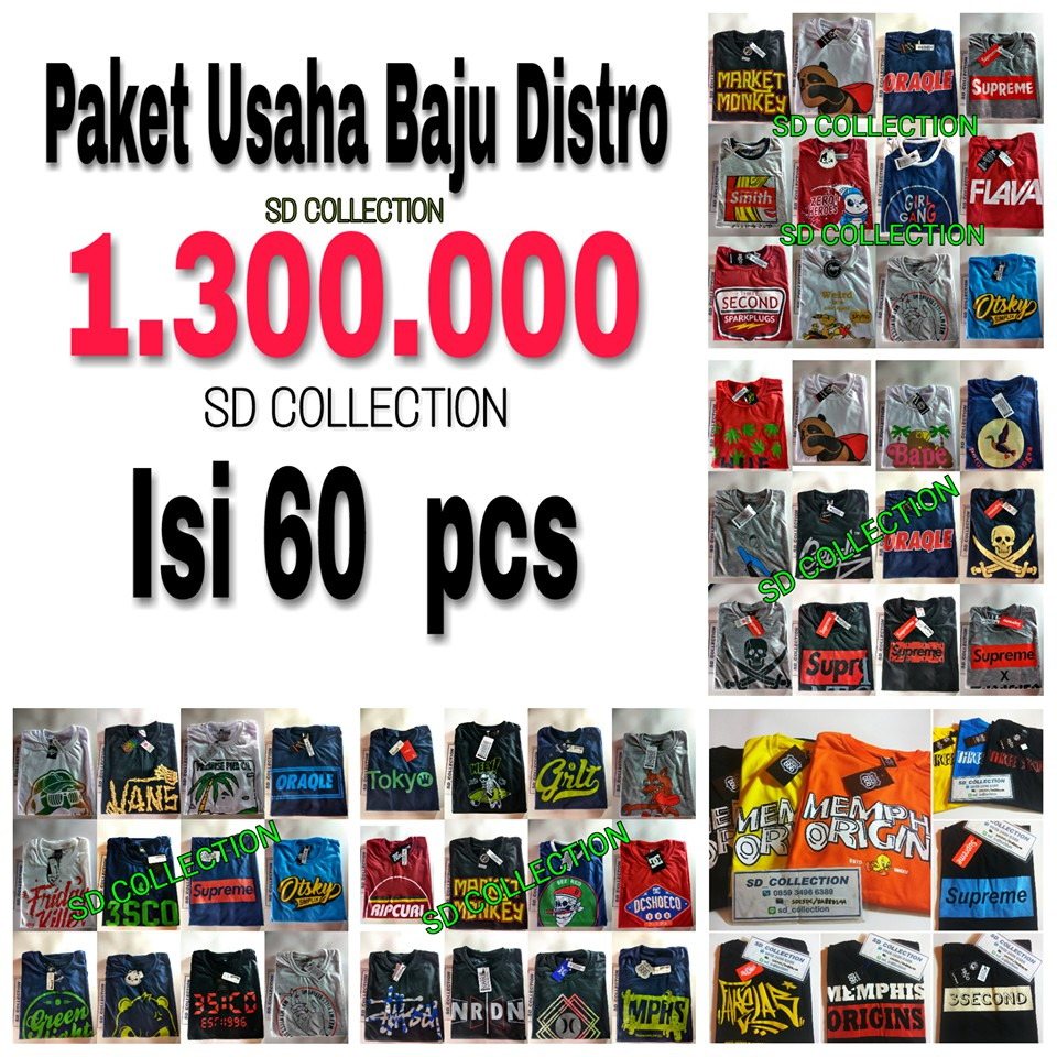 Paket Usaha Kaos Distro Isi 60 Pcs Shopee Indonesia Grosir  Min 4