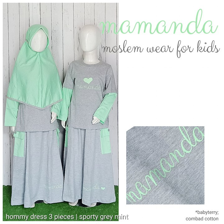 Setelan Muslim Anak 3pcs Sporty Grey Mint (Hommy Dress) by Mamanda
