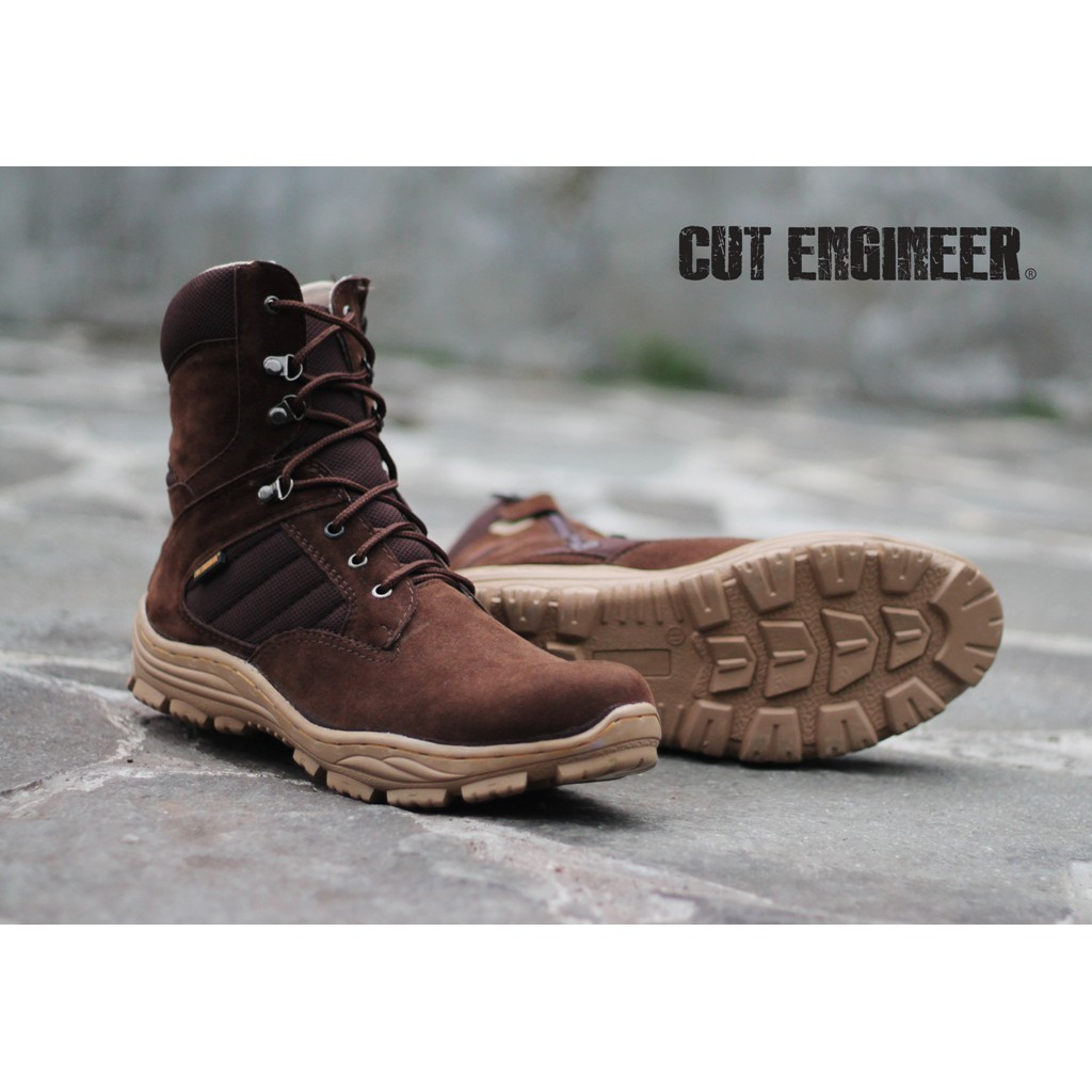 Cut Engineer Safety Boots Amintore Genuine Leather Dark Brown Shoes Iron Suede Black Shopee Indonesia