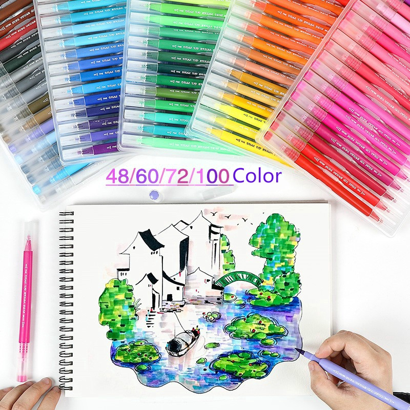 48 60 72 100 Color Dual Tips Watercolor Brush Pens For Student Art Markers Coloring Book Journal Shopee Indonesia