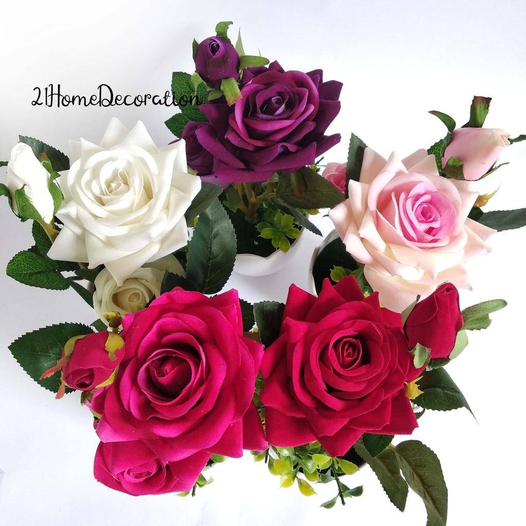 Vas Bunga Mawar Pot Melamin Dekorasi Meja Garden Rose Vb05 Shopee Indonesia