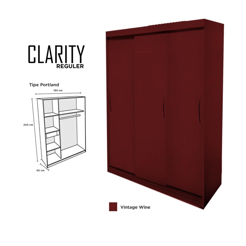 Lemari pakaian 3 pintu kayu mahoni minimalis clarity door sliding hpl abu abu tua midnight grey shopee indonesia