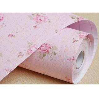 wallpaper dinding kamar tidur mawar pink mini stiker murah
