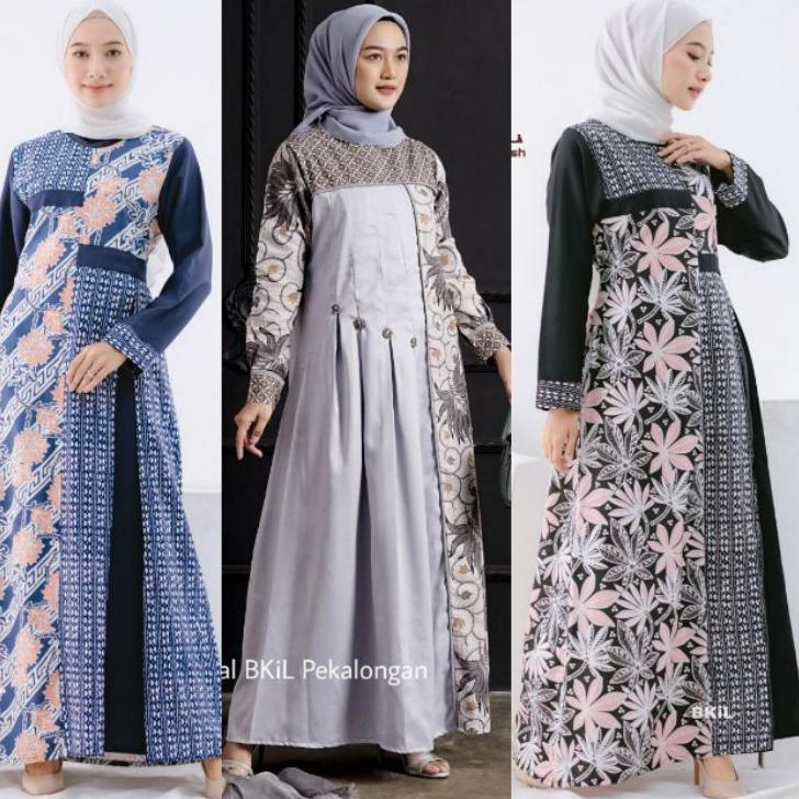 Model Baru.. Baju Batik Wanita Gamis Batik Modern Batik Kombinasi