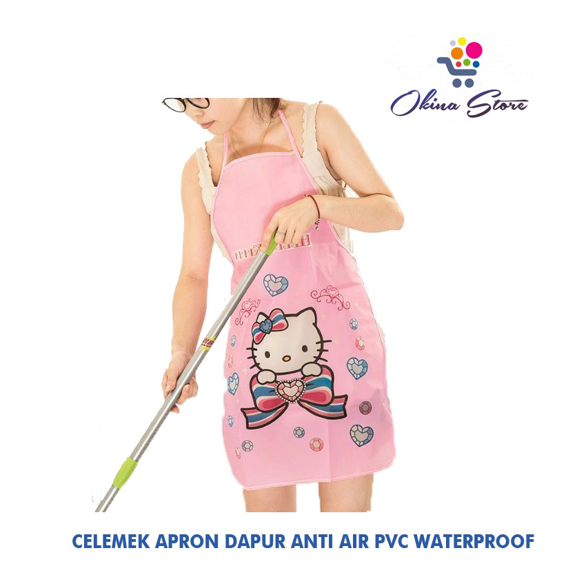 Celemek Karakter Kartun Waterproof Celemek Anti Air Apron Dapur Masak Tebal PVC Bebek HK Panda Gajah | Shopee Indonesia