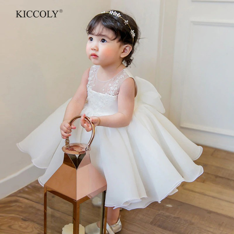 Cute Flower Girls Wedding Dress White Tulle Baby Girl Christening Gown For Party 1 Year Baby Girl Shopee Indonesia