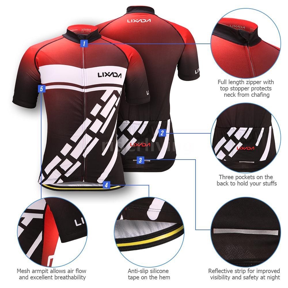 Men/'s Reflective Cycling Jersey Full Zip Short Sleeve Bike Clothing Biking Shirt