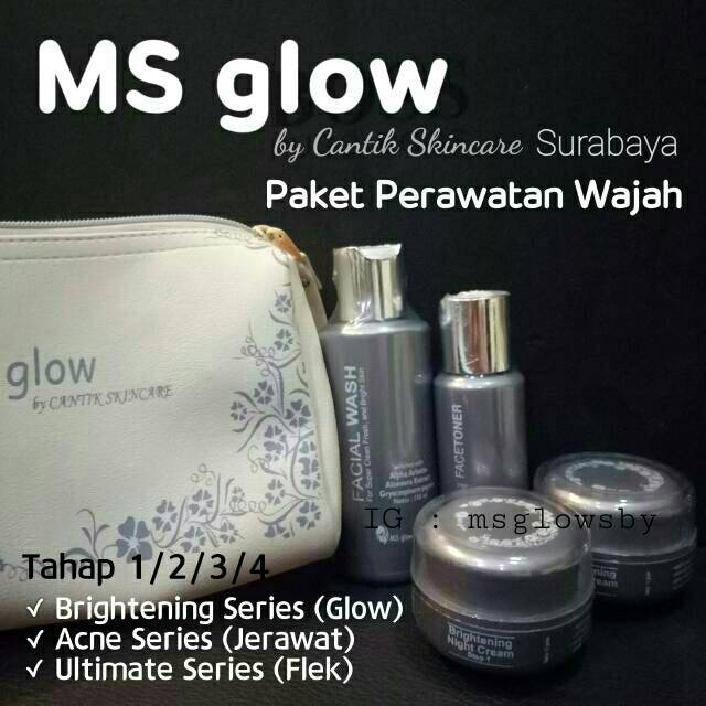 Ready Stock Paket Krim Wajah Ms Glow By Cantik Skincare Krim Glow Brightening Whitening Acne Flek Shopee Indonesia