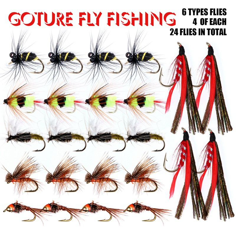 Sougayilang Bass Salmon Trout Colorful Assortment Fly Fishing Flies Pack of