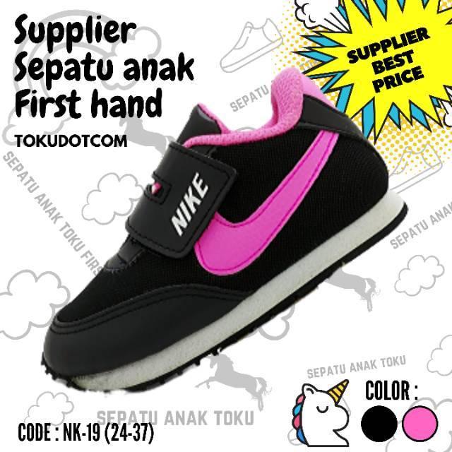 Sepatu Anak Cewek Hitam Pink Model Perekat Sepatu Anak Perempuan