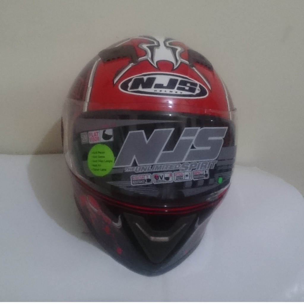 Helm Njs Flat Visor N 802 Full Face Shopee Indonesia Kaca Shadow Smoke