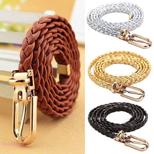 CL✿✿ Women Braided Skinny Waistband Thin Buckle Strap Woven Slim Solid Color