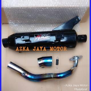 Knalpot Racing Bobokan Honda Beat Fi pelangi model Tsukigi moncong blue